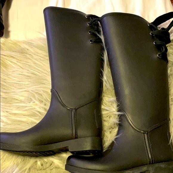 Coach rain boots. Matte black. Worn once